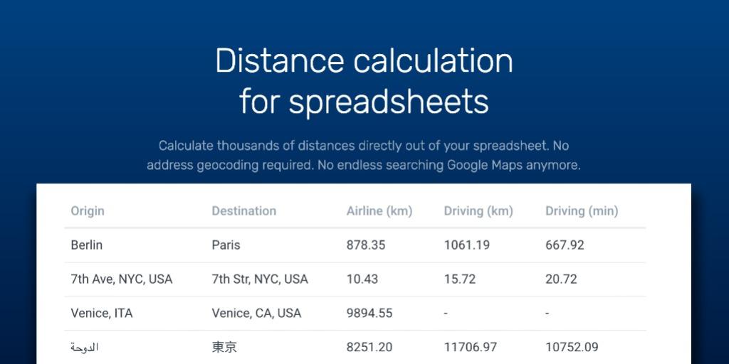 Excel, XLSX, CSV, Google Drive & Spreadsheet bulk distance